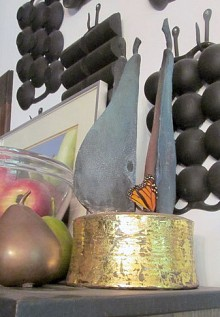 Pears and monarch perched on gold base. Photo: Sarah Harris