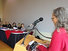 Aviva Gold, director of Gardenshare, addresses the NYS Council on Food Policy. Photo: David Sommerstein.<br />