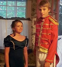Rosie Kilby and Brian DeWalt as Miss Bingley and Mr. Denny.  Photo: Book & Blanket Players.