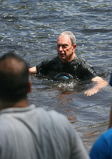 "You don't see that every day.  Mayor Bloomberg takes a dip in the Indian River. Photo: NYS Governor's office via <a href=""http://www.flickr.com/photos/governorandrewcuomo/"">Flickr<a/>"