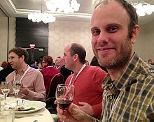 John Stiles of Brooklyn Winery puts some North Country wine to the test. Photo: David Sommerstein.