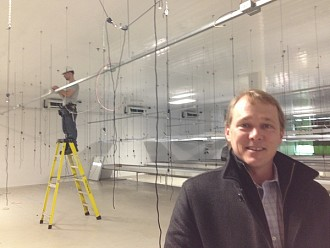 Tweed chairman Bruce Linton, in what will become one of 28 grow rooms. Photo: Sarah Harris