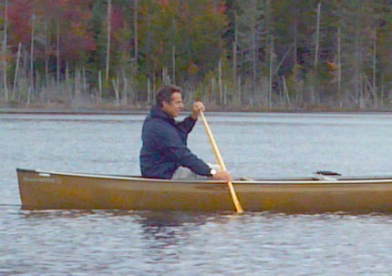 Governor Andrew Cuomo paddling on Boreas Pond in North Hudson, in Essex County. He'll be in Indian Lake paddling on July 21 for the Adirondack Challenge. Photo: Brian Mann