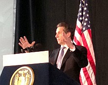 Gov. Cuomo speaks at Clarkson Tuesday. Photo: David Sommerstein.