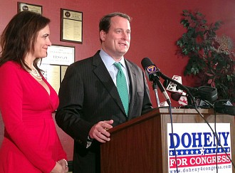 Watertown businessman Matt Doheny in 2012. He entered the race late and is now challenging Stefanik for the Republican line.  NCPR file photo: David Sommerstein