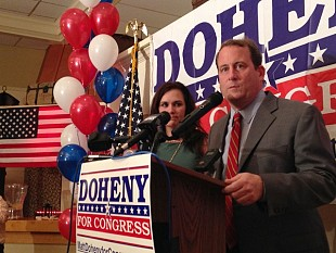 Matt Doheny concedes Tuesday night in Watertown. Photo: David Sommerstein