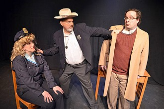 Peggy Orman as Darla, Steve DeHond as Police Chief and Jason Amrhein as Elmer.  Photo:  Karen Lordi-Kirkham