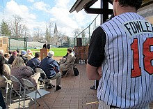 "The high school baseball team captains wore uniforms with ""Fowler"" emblazoned across the back at the ceremony recognizing Bud Fowler at Doubleday Field. The team will wear ""Fowler"" jerseys for the first few games of the season. Photo: David Sommerstein"