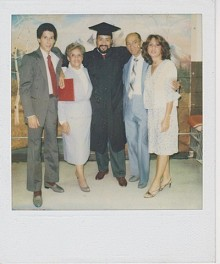 George Prendes with his family at his college graduation. He and his parents left Cuba when George was three. He says his father, Orlando Prendes (at his left) was one of the original Mambo Kings.