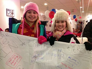 Erin Hamlin's victory inspired sixth graders Kristen Waterbury and Sidney Boucher, who had all their classmates sign a poster for Hamlin. Photo: David Sommerstein.