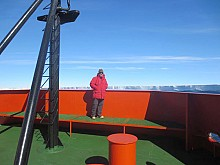 Glenn Clark aboard an icebreaker off Antarctica's Mertz Glacier. Photo: submitted by Glenn Clark