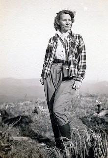 Grace Hudowalski. Photo: unknown. In 1937, Grace became the ninth person and the first woman to climb all 46 Adirondack peaks over 4,000 ft. in height.