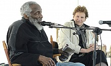 Dick Gregory, on stage with Ellen Rocco. Photo: Beehive Productions