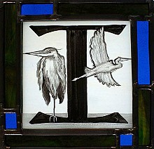One of the stained glass panels Scott Ouderkirk created to accompany the book.