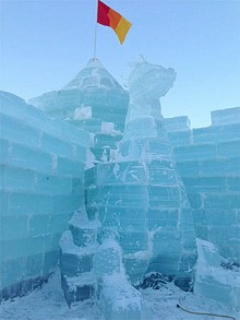 Dragon carving at this year's Ice Palace Photo: Sandra Hildreth from NCPR's Photo of the Day