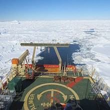 Ice quickly fills back in behind the icebreaker. Photo: Glenn Clark