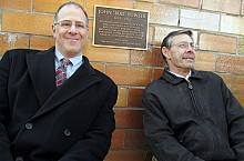 Cooperstown mayor Jeff Katz (left) poses with Marc Appleman, director of the Society for American Baseball Research. The plaque will greet the legions of people who come to Doubleday Field, the mythical birthplace of baseball. Photo: David Sommerstein