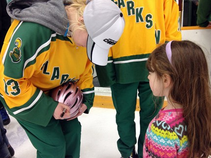 Clarkson Knights skated with the public following the ceremony and signed autographs. Photo: David Sommerstein