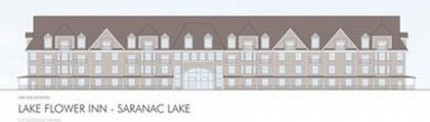 This architectural rendering of a proposed 90-room, 60-foot-tall hotel on Lake Flower, presented at Wednesday night's Saranac Lake planning board meeting, shows how it would look from the lake. Drawing: courtesy VIP Architectural Associates
