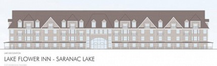 This architectural rendering of a proposed 90-room, 60-foot-tall hotel on Lake Flower, presented at Wednesday night�s Saranac Lake planning board meeting, shows how it would look from the lake. Image: VIP Architectural Associates