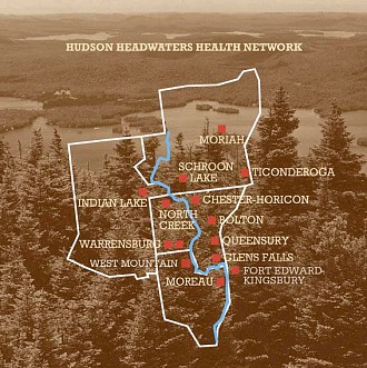 A partial map of Hudson Headwaters' clinics.  The network has also opened a facility in northern Clinton County.  Image: HHHN
