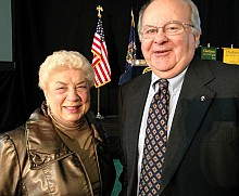 Two longtime town supervisors, Potsdam's Marie Regan and Brasher's Jim Dawson, came to see Governor Cuomo. Photo: David Sommerstein.