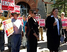 District attorney Mary Rain (right) during her campaign last summer. Photo: David Sommerstein.