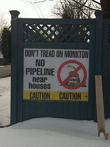 An anti-gas pipeline sign in Monkton. Photo: Sarah Harris