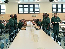 Lunchtime in the mess hall at Moriah Shock prison in Essex County. Photo: Natasha Haverty