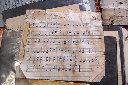 A water-soaked, handwritten copy of St. Lawrence University's alma mater, one of dozens of sheets of music rescued from the bell tower of Gunnison Memorial Chapel by Canton firemen following the fire in the chapel. Photo: Varick Chittenden, Canton