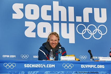 Smiling Andrew Weibrecht at the post-race press conference. Photo: © Nancie Battaglia