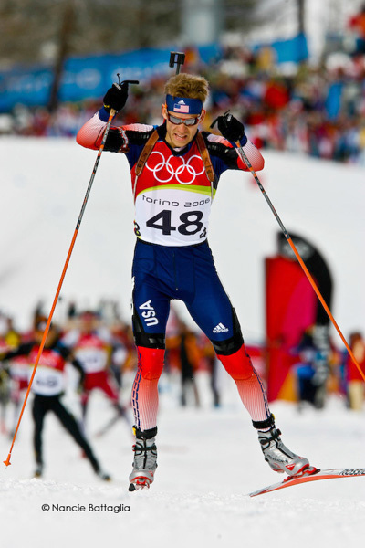 Lowell Bailey from Lake Placid, a member of US biathlon, skiing in Vancouver in 2010 (Photo:  Nancie Battaglia)
