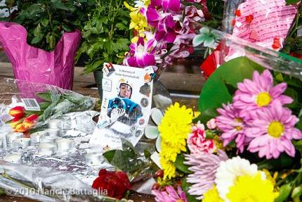 A memorial for Nodar Kumaritashvili in the Olympic village in Vancouver in 2010. Photo: Nancie Battaglia, NCPR Olympics correspondent