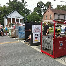 Commodes-on-wheels at the starting line. Photo: Sarah Harris