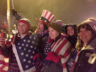 Hundreds of people lined Remsen's one main street to cheer the arrival of their Olympic hero. Photo: David Sommerstein.