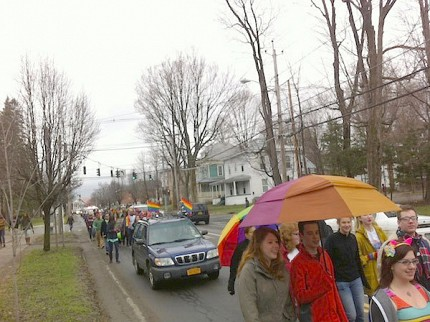 The parade started on Main Street and made its way to SUNY Potsdam's campus. Photo: Zach Hirsch