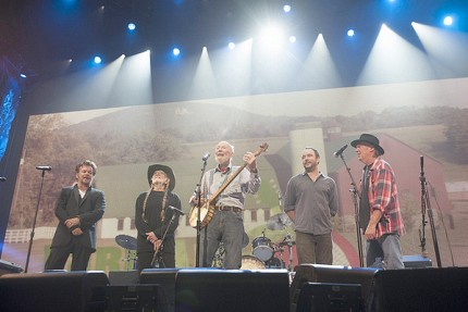 """The """"Big Four"""" at Farm Aid in Saratoga last summer. - John Mellencamp, Willie Nelson, Dave Matthews, and Neil Young - with Pete Seeger, Saturday night in Saratoga Springs. Photo: Copyright Paul Natkin/Photo Reserve, Inc."""