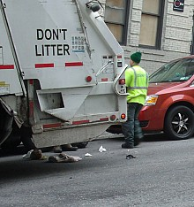 Every day, crews from the Sanitation Department's 9,000-strong force fan out across New York City.  Photo:  Brian Mann
