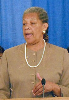 Senator Ruth Hassell-Thompson, one of the sponsors of the bill, says it would give judges proper leeway to consider domestic violence as a factor in sentencing. Photo courtesy the Correctional Association