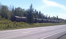 Unattended rail cars on a track above Lac-Megantic in the days following the disaster. NCPR File Photo: Brian Mann