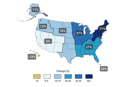 "Observed change in very heavy precipitation in the U.S. Image: <a href=""http://nca2014.globalchange.gov/report/our-changing-climate/heavy-downpours-increasing"">National Climate Assessment</a>"