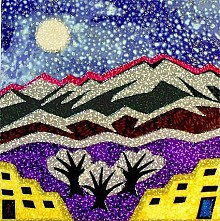"<i>Santa Fe Snow</i> � an example of Alex Jacob's collage art inspired by the ""Blizzard of '06"" and the Sangre de Cristo Mountains."