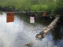 A no-trespassing sign posted at Shingle Shanty Brook. Photo: Brian Mann