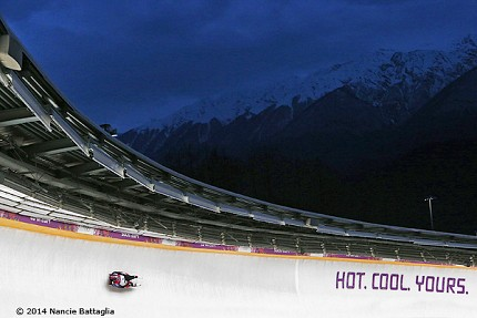 Many of the events in Sochi are being held at night in order to accommodate TV broadcast times in the West.  Nancie's images have captured the contrast between the snow and ice and the gathering dusk. Photo: © Nancie Battaglia