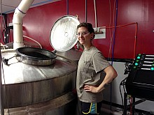 Notice the high-tech looking control panel brewmaster Stephanie Russo uses on the right. Photo: David Sommerstein