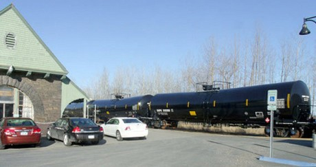 Tanker cars outside the depot in the village of Port Henry. Photo: Brian Mann