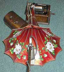 Rebecca Hopfinger's gramophone decorated with roses by her Aunt Bertha.