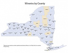 Wineries by county in New York as of December 2012.  Image: New York Wine & Grape Foundation