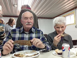 Ralph Frary and Winnie Frary enjoy their bullhead dinner. Photo: Sarah Harris