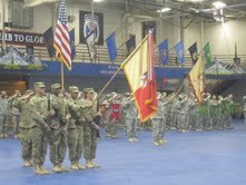 Fort Drum soldiers mark the departure of the 10th Sustainment Brigade for an Afghanistan deployment in October 2011.